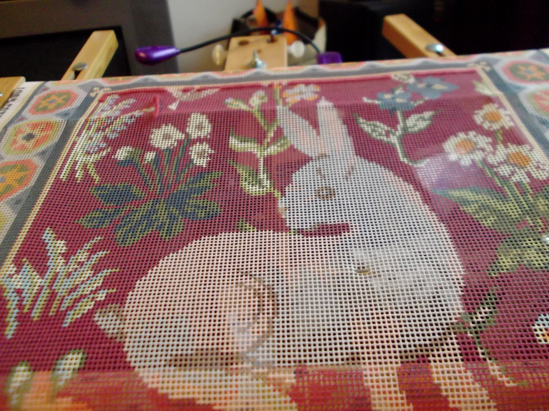 Desk  needlepoint and food 015